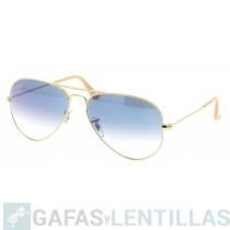 RAY-BAN AVIATOR GRADIENT 3025 Oro 001/3F Azul claro Degradada