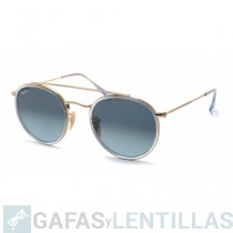 RAY-BAN 3647 ROUND DOUBLE BRIDGE Transparente; Bronce-Cobre Azul claro Degradada